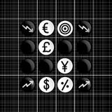 Stock markets trade set iconin  othello game Royalty Free Stock Photos