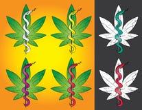 Stock medical marijuana grunge stamp with snake illustration vector illustration