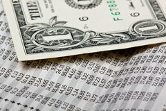 Stock and money. Newspaper with stock market informations Royalty Free Stock Photography