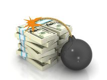 Stock of money and exploding bomb Royalty Free Stock Images