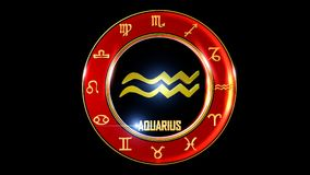 Zodiac aquarius background. This stock motion graphic features , the symbol for the Zodiac sign in Indian astrology. The Zodiac sign is surrounded with a red vector illustration