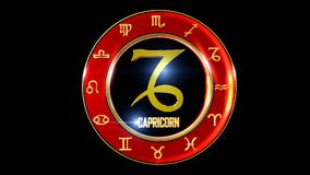 Zodiac capricorn background. This stock motion graphic features , the symbol for the Zodiac sign in Indian astrology. The Zodiac sign is surrounded with a red vector illustration