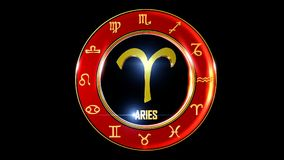 Zodiac ariesr background. This stock motion graphic features , the symbol for the Zodiac sign in Indian astrology. The Zodiac sign is surrounded with a red disc vector illustration