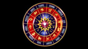 Zodiac all background. This stock motion graphic features , the symbol for the Zodiac sign in Indian astrology. The Zodiac sign is surrounded with a red disc vector illustration