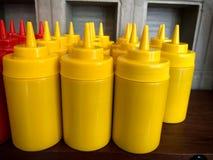 Mustard sauce bottle. Royalty Free Stock Photos