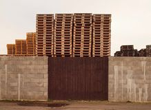 Stock of new wooden euro pallets. At transportation company Stock Images