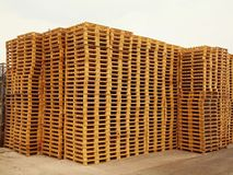 Stock of new wooden euro pallets. At transportation company Royalty Free Stock Photos