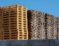 Stock of new wooden euro pallets. At transportation company Stock Image