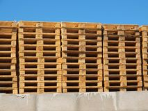 Stock of new wooden euro pallets. At transportation company Royalty Free Stock Photography