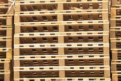 Stock of new wooden euro pallets at transportation company. Stock of new wooden pallets at transportation company Royalty Free Stock Photos