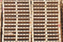 Stock of new wooden euro pallets at transportation company. Royalty Free Stock Photos