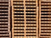 Stock of new wooden  pallets at transportation company. Stock of new wooden euro pallets at transportation company Stock Photos