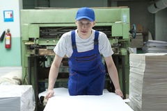Stock offset paper.  Man working in print factory Royalty Free Stock Images