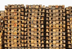 Stock of old wooden euro pallets at transportation company. Stock Images