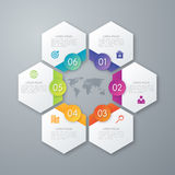 Stock options infographics six hexagons Royalty Free Stock Images