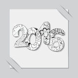 Stock  paper cut with new year pattern.black and white win Royalty Free Stock Photos