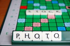 Stock Photo. Scrabble Board With Pieces Spelling STOCK PHOTO Royalty Free Stock Images