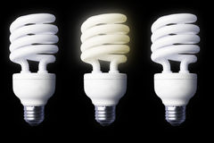 Stock Photo of 3 light bulbs. 3 light bulbs on a black background Stock Photos