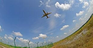 Stock photo of an aeroplane. A fisheye view of an aeroplane in landing mode Stock Images