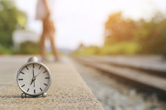 Stock Photo:alarm clock Watch outdoor alone at train station Royalty Free Stock Image