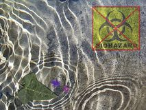 Stock Photo Art with Clean Water Concept. Photo illustration of clean water concept with biohazard sign , flowers and leave stock illustration