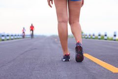 Stock Photo - athlete running sport feet on trail healthy lifest Stock Photography