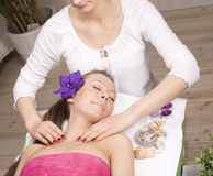 Stock photo attractive lady getting spa treatment Stock Photo