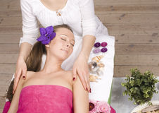 Stock photo attractive lady getting spa treatment Royalty Free Stock Image