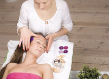 Stock photo attractive lady getting spa treatment Royalty Free Stock Images