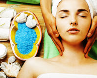 Stock photo attractive lady getting spa treatment in salon Royalty Free Stock Photo