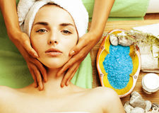 Stock photo attractive lady getting spa treatment in salon, close up asian hands on face Stock Images