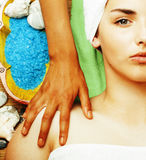 Stock photo attractive lady getting spa treatment in salon, close up asian hands on face Stock Image