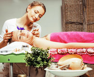 Stock photo attractive lady getting spa treatment in salon, heal Stock Photography