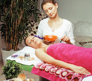 Stock photo attractive lady getting spa treatment in salon, heal Royalty Free Stock Photography
