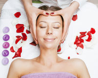 Stock photo attractive lady getting spa treatment in salon, healthcare people concept Stock Image