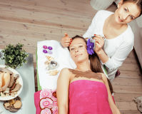 Stock photo attractive lady getting spa treatment in salon, healthcare people concept Stock Photos