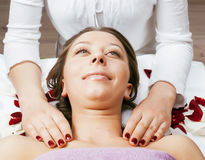 Stock photo attractive lady getting spa treatment in salon, healthcare people concept Royalty Free Stock Image