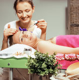 Stock photo attractive lady getting spa treatment in salon, healthcare people concept Royalty Free Stock Photo