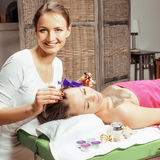 Stock photo attractive lady getting spa treatment in salon, healthcare people concept Royalty Free Stock Photography