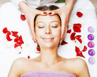 Stock photo attractive lady getting spa treatment in salon, mass Stock Photos