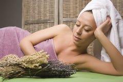 Stock photo attractive lady getting spa treatment in salon, massage doctor smiling care pretty Stock Photo