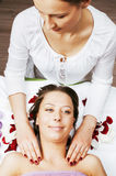 Stock photo attractive lady getting spa treatment in salon, massage doctor smiling care pretty Stock Images