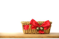 Stock Photo:Background with empty basket on wooden table Stock Photography