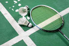 Stock photo of Badminton court. With a shuttlecocks and Racket  at the corner Royalty Free Stock Photography