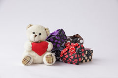 Stock Photo:Bear toy with gift box for christmas on white backg Stock Photo