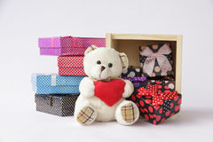 Stock Photo:Bear toy with gift box for christmas on white backg Royalty Free Stock Image