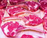 Beef steaks at the butcher store. Stock photo of beef steaks at the butcher store Royalty Free Stock Photo
