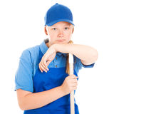 Stock Photo of Bored Teenage Worker Royalty Free Stock Photography