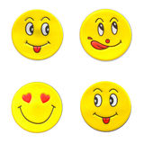Stock Photo - Bright, yellow sticker with a smiley face Stock Images