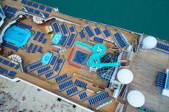 Aerial image Carnival Freedom pool deck image Stock Images